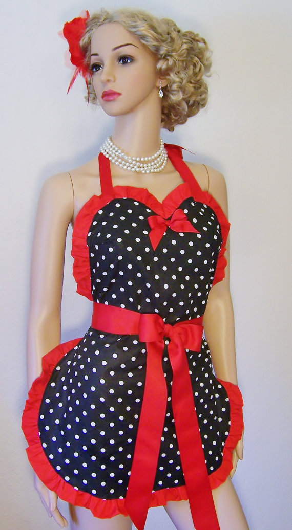 Sweetheart Apron, Polka Dots, Pin-up, Retro,50's, Rockabilly, Pick your Color