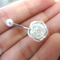 Pearl Rose Belly Button Ring- White Pearlized Flower Navel Stud Jewelry Bar Barbell Piercing Azeeta Designs Azeetadesigns