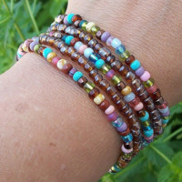 Sweet Bohemian  - Stacker Stretch Bracelets - Gypsy - Hippie - Brown