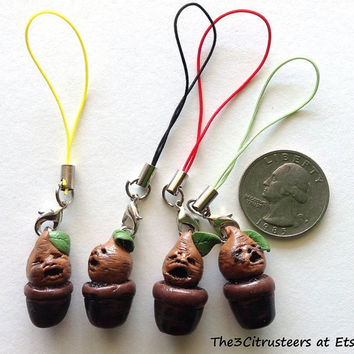 Set of 4 Spooky Handmade Polymer Clay Harry Potter Inspired Mandrakes Phone Charms!!!!