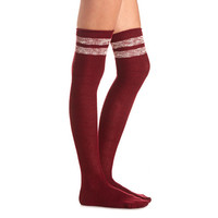 MARLED STRIPE OVER-THE-KNEE SOCKS
