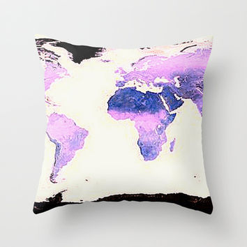 Robinson Projection Map Throw Pillow by 2sweet4words Designs | Society6