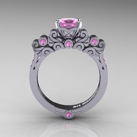 Classic Armenian 950 Platinum 1.0 Ct Princess Light Pink Sapphire Solitaire Wedding Ring R608-PLATLPS