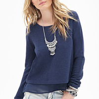 Chiffon-Paneled Metallic Sweater