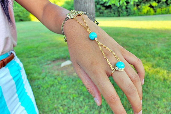 Gold (or Silver) Leather Turquoise Slave Bracelet