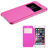 View-Flip Silk Cover w/ Frosted Tray iPhone 6 Plus Case - Hot Pink
