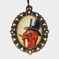 Smoking Turkey Necklace, Oval Pendant