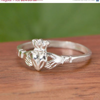 SALE Sterling Silver Claddagh Ring - Claddagh Jewelry - Sterling Claddagh - Silver Ring - Sterling Ring