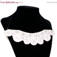 "Christmas in July Sale Lace Collar Necklace: ""Queen Elizabeth"" Gray and White Embellished Bib Necklace"