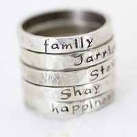 Personalized Stack Ring - Sterling Silver Stacking Rings - Hand Stamped Jewelry - Christina Guenther