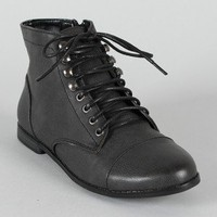 Qupid Strip-66 Leatherette Lace Up Ankle Bootie