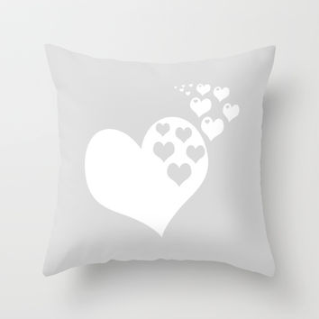 Gray White Hearts of Love Throw Pillow by BeautifulHomes