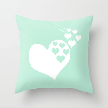Mint White Hearts of Love Throw Pillow by BeautifulHomes