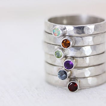 Birthstone Gemstone Sterling Silver Stack Rings - Handmade Personalized Jewelry - Listing for One Ring
