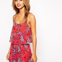New Look Petite Double Layer Contrast Floral Print Playsuit