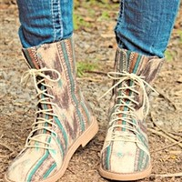 Flower Child Lace Up Boots Tan