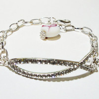 Silver Pink Rhinestone Sideways Curver Ribbon Fish Charm Connector Bracelet/Breast Cancer Awareness Fish Shaped Bracelet