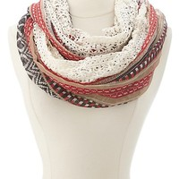 Tribal Print & Lace Infinity Scarf by Charlotte Russe - Multi