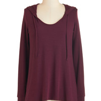 ModCloth Mid-length Long Sleeve Hoodie Cookie Competition Hoodie in Burgundy