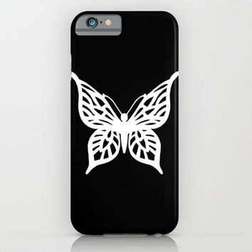 Butterfly White on Black iPhone & iPod Case by Project M | Society6