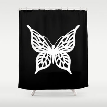 Butterfly White on Black Shower Curtain by Project M | Society6