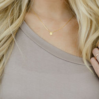 Lucky Clover Charm Necklace, Dainty Adjustable Necklace, Women's Pretty Jewelry, Charm Necklace in Gold (NCK-3714)