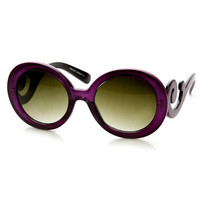 Trendy Womens Fashion Baroque Swirl Temple Round Sunglasses 9347