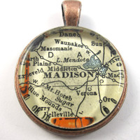 Madison, Wisconsin, Pendant from Vintage Map, in Glass Tile Circle
