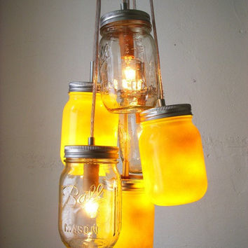 Summer Sunset - Clear and Golden Yellow Mason Jar Chandelier Lighting Fixture - UpCycled Hanging Pendant Swag Light - BootsNGus Lamp Design