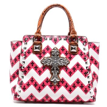 HauteChicWebstore Rhinestone Cross Chevron Rockstud Shoulder Bag