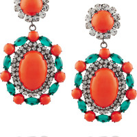 Kenneth Jay Lane Gunmetal-tone, cabochon and resin earrings – 50% at THE OUTNET.COM