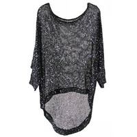 Batwing Paillettes Fitted Anomalous Black T-shirt [NCTM0450] - $40.99 :