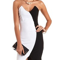 POINTED COLOR BLOCK STRAPLESS BODYCON DRESS