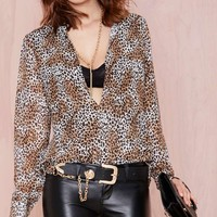 Nasty Gal Fine Print Blouse