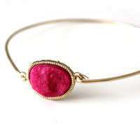 Druzy orange bangle 14kt gold filled - custom size