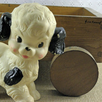 Vintage Squeaky Toy, Black and White baby toy dog from the Sun Rubber Co 1960s
