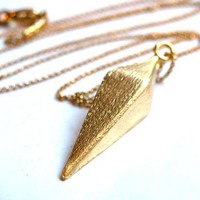 Diamond Pendulum Gold Brushed Pendant Necklace by HaruCreations
