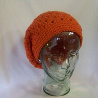 Crochet Shelly Shell Slouchy Beanie Burnt Orange Handmade Crochet Hat Slouchy Beanie Crochet Tam Crochet Beret for Winter Fall Women Teen