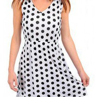 WHITE POLKA DOT A-LINE DRESS @ KiwiLook fashion