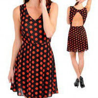 ORANGE POLKA DOT A-LINE DRESS @ KiwiLook fashion
