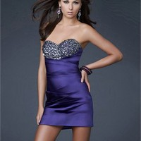 Sweetheart Pleating And Beadedwork Cultive Stretch Satin Short Prom Dress PD10672 Online Sale
