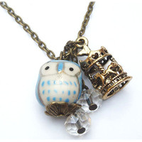 Antiqued Brass Carrousel Clear Quartz  Porcelain Owl Necklace