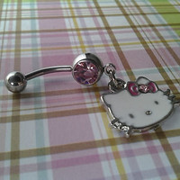 Hello Kitty Belly / Navel Ring Sexy Body Jewelry Dangle Pink Crystals