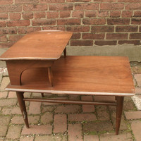 vintage 1960&#x27;s danish mid century modern end table, eames era, 2 tier, living room furniture, pittsburgh