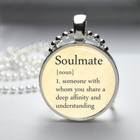Round Glass Bezel Photo Art Pendant Soulmate Pendant Dictionary Definition Necklace With Silver Ball Chain (A3601)