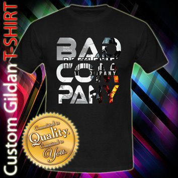New Bad Company 3 Shoter Wars 3D Video Game Custom Black T-Shirt