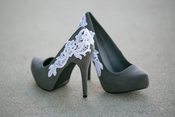 Grey Heel with Lace Applique. Size 7.5