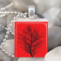 Scrabble Tile Pendant Tree Pendant Tree Necklace With Silver Ball Chain (A849)