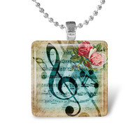 Glass Tile Pendant Music Note Pendant Music Necklace With Silver Ball Chain (A2953)