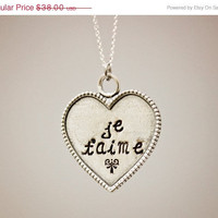 Christmas in July SALE Je t'aime (I love you) - Hand Stamped Necklace - Sterling Silver Heart - Custom Made - Can be personalized by reques